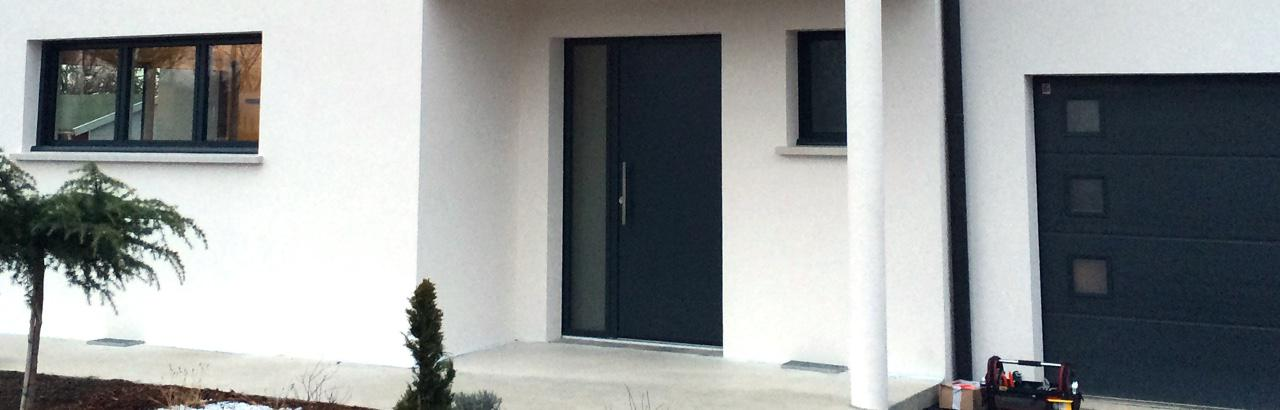 Portes d 39 entr e alu 68 haut rhin visioferm for Porte aluminium blanche